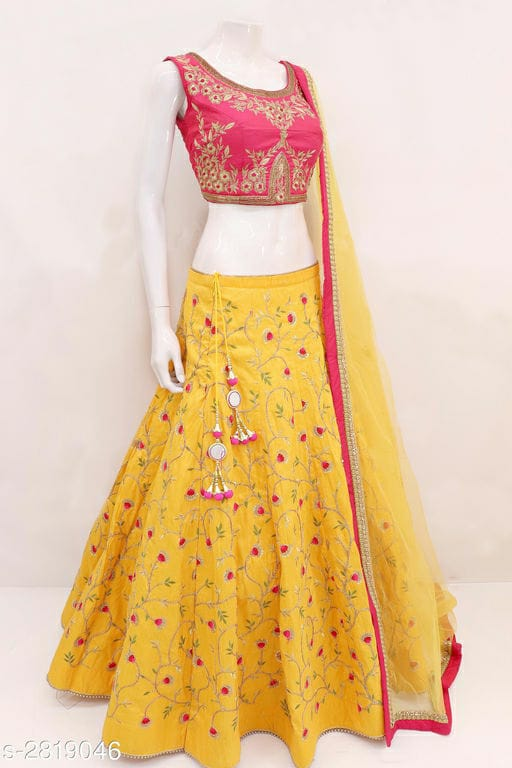 Yellow And Pink Phantom Silk Designer Lehenga Choli
