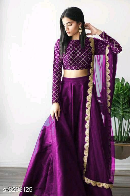 Purple Mulberry Silk Lehenga Choli Set