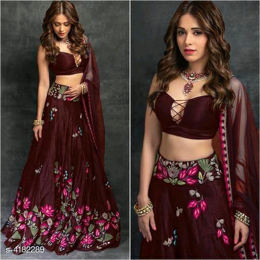 Experimental Edgy Choli With Embroidered Lehenga