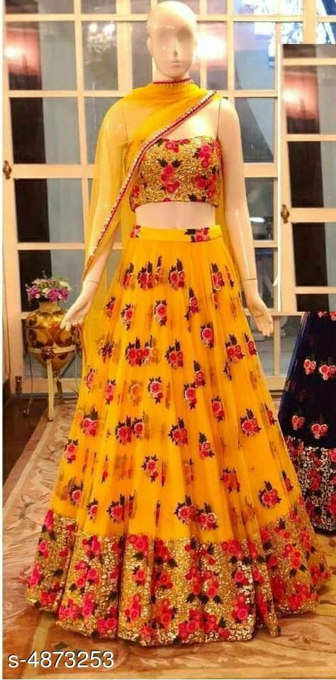 Chic And Vibrant Floral Lehenga With Spaghetti Choli