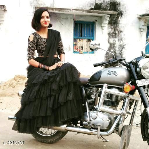 Black Ruffled Lehenga Choli Set