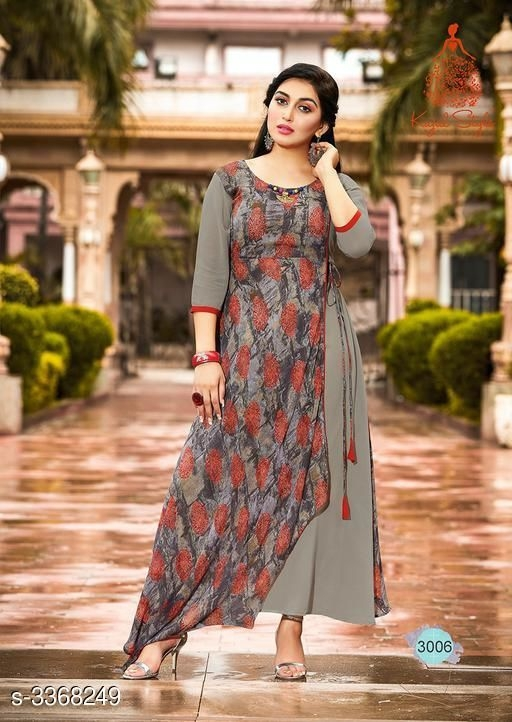 Printed tie up style kurti design