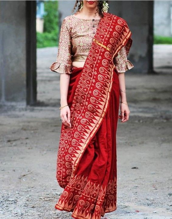 Designer Red Chanderi Saree