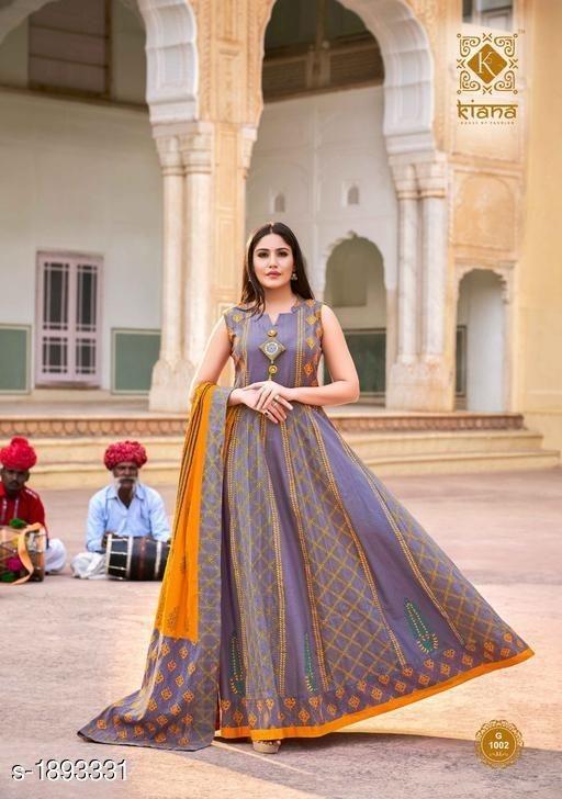 Gown style sleeveless kurti design